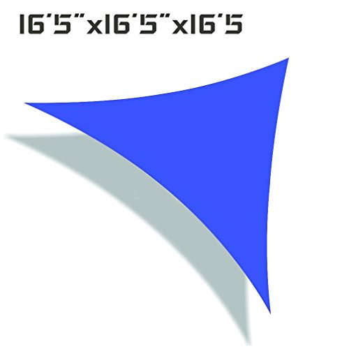 Unicool Deluxe Triangle 16 5 x 16 5 x 16 5 Sun Shade Sail Canopy UV Block Fabric Outdoor Patio Top Cover Blue