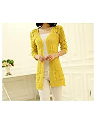 New Spring Autumn Long Knitting Cardigan Slim Fit Hollow Out Sweaters For Lady