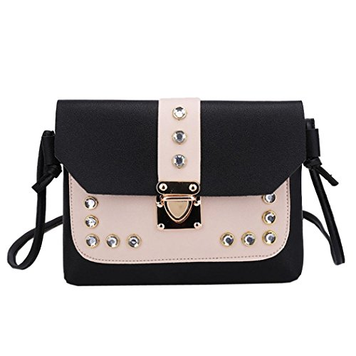 Satchel Color Bag Black Tote Hit Shoulder Crossbody Messenger Rhinestone Bags KIMODO Women qA0cE