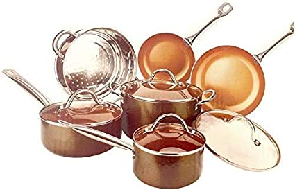 Buy Copper H-02628 Pan 10-Piece Luxury Induction Cookware Set Non-Stick,  21.5 x 11.5 x 11 inches … Online at Low Prices in India - Amazon.in
