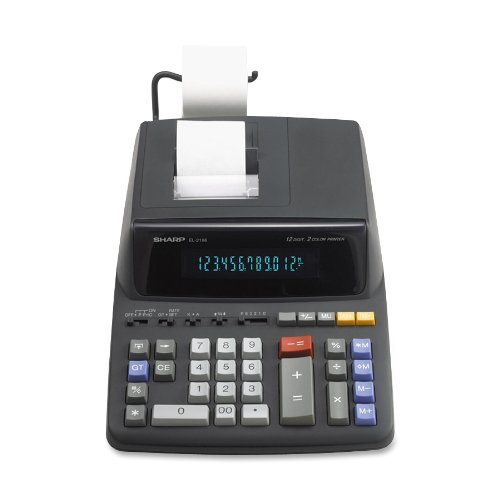 El 2196Bl Desktop Calculator  12 Digit Fluorescent  2 Color Printing  Black Red