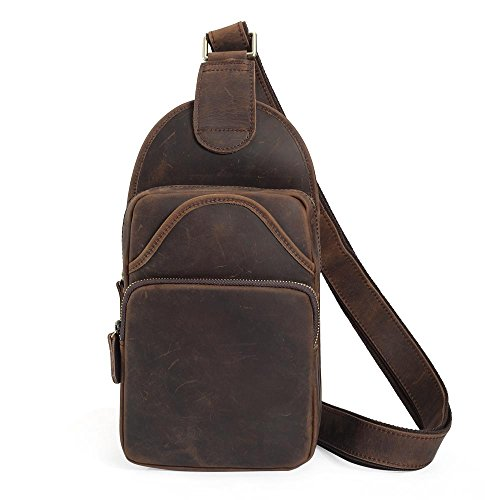 Tiding Vintage Men's Genuine Leather Sling Bag Crossbody Shoulder Chest Pack Unbalance Backpack For Travel School Sport Hiking - (Dark Brown, Small Size)