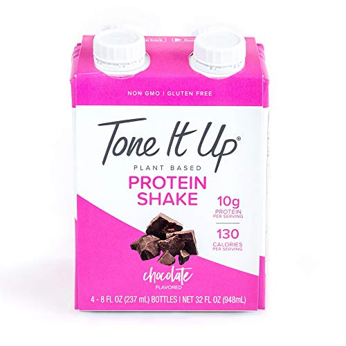 Tone It Up Ready to Drink Chocolate Protein Shake 10g Organic Plant Based Protein Vegan Meal Replacement 4 Count, 32oz