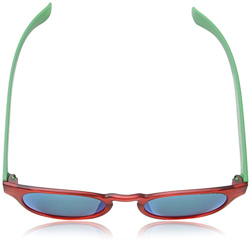 Police - Lunette de soleil S1945 Exchange 2 Ronde SHINY TRANSPARANT RED & GREEN FRAME / TURQUOISE MIRROR LENS