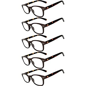 Readers 5 Pack of Elegant Womens Mens Reading Glasses with Beautiful Patterns for Ladies and Gentlemens Deluxe Spring Hinge Stylish Look 180 Day Guarantee +2