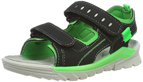 Ricosta Boys' Tajo Ankle Strap Sandals, Black (Schwarz/Neongrün 096) 1 UK ()