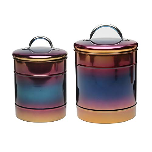 (Amici Home 5AN848AS2R Rainbow Canisters Nesting Decorative Metal Storage Containers with Luster Finish and Gasket Lined Lids, Assorted Set of 2)