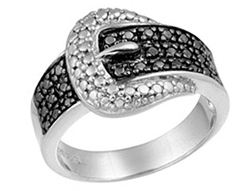 Diamond Ring Buckle (Buckle Ring with Black Diamond Accent in Sterling Silver)