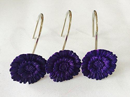 12 PCS Home Fashion Decorative Rust Proof Purple Flower Shower Curtain hooks