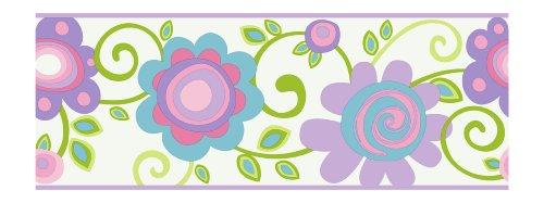 White Scroll Wallpaper (York Wallcoverings PW3953B Girl Power 2 Floral Scroll Border, White/Lilac/Blue)