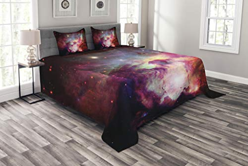 Lunarable Outer Space Bedspread Set King Size, Image of Magical Gas Cloud Nebula in Outer Space with Galaxy Solar Zone Print, Decorative Quilted 3 Piece Coverlet Set with 2 Pillow Shams, Purple Red by Lunarable