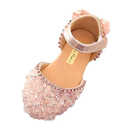 Tantisy ♣↭♣ Girls Crystal Princess Shoes // Kids Bowknot Cute Single Shoes Ballroom Latin Dance Shoes Summer Casual Shoes ()