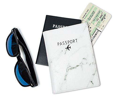 Leotruny Passport Holder Cover Waterproof Rfid Blocking Travel Wallet Case (White Marble) by leotruny (Image #2)
