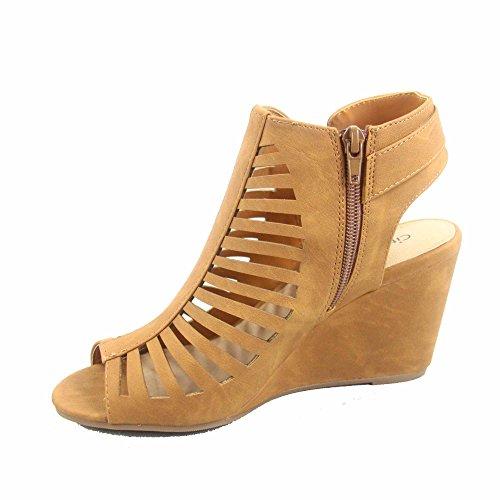 City Classified Suntan-s Womens Peep Toe Strappy Caged Ankle Wedge Heel Bootie Sandal Tan F0lkf6W8