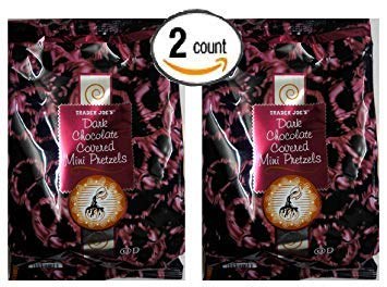 Trader Joe's Dark Chocolate Covered Mini Pretzels NET WT. 12 Oz (340g) (Pack of 2)