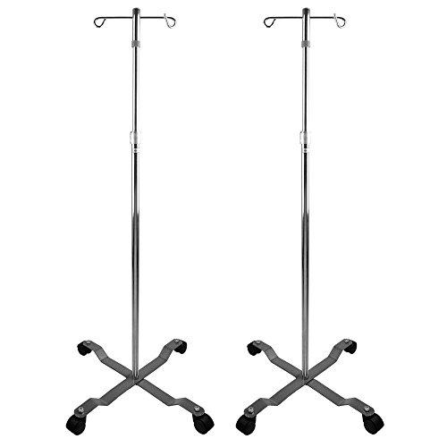 2x NEW Rolling 2-Hook 4-Leg Chrome Plated IV Stand Pole Wheeled I V I.V. (Stand 2 Hook 5 Leg)