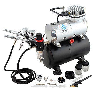 WST 3-Airbrush Spray Gun Kits with Air Tank Compressor for Hobby Model Airplane Car Cake Decoration Makeup , 110v