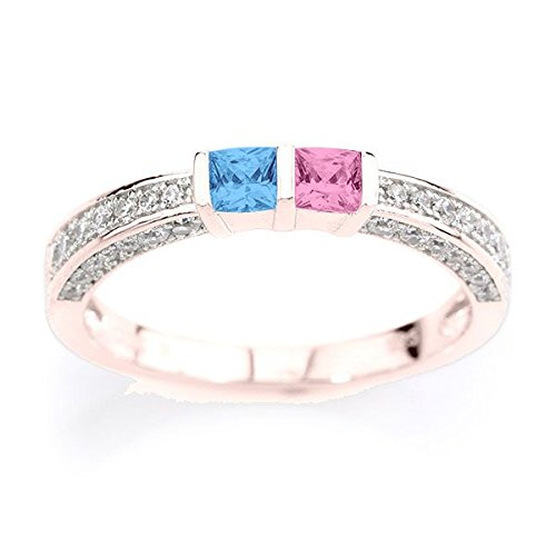 His and Hers 10k Gold Princess Channel with 2 Birthstones and 3 Side CZ Accents Personalized Couples Ring by Central Diamond Center