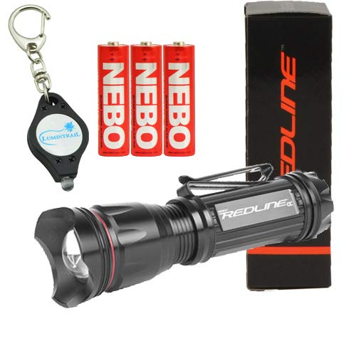 NEBO Bundle Redline OC LED 200 Lumens Flashlight 6092 w 3 AA Batteries and Lumintrail Keychain Light