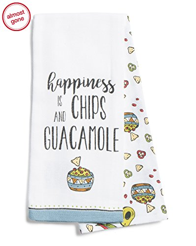 Happiness is Chips and Guacamole Set of 2 Kitchen Towels Cotton