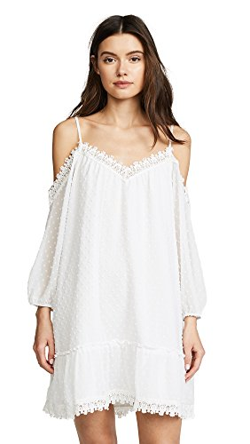 BB Dakota Women's Millie Swiss Dot Shift Dress, Ivory, Large (White Dot Dress)