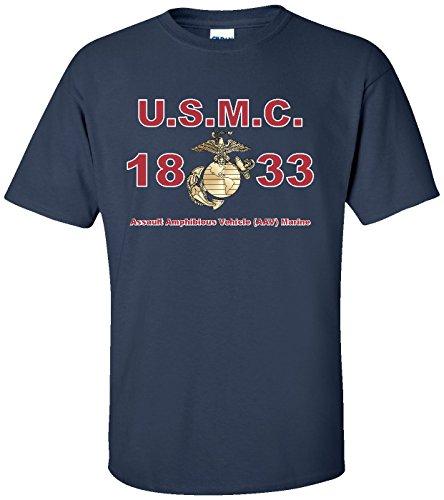(United States Marine Corps MOS 1833 Assault Amphibious Vehicle (AAV) Marine T-Shirt Navy)
