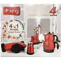 King 4 'ü 1 Arada Ev Aleti Çeyiz Seti (Çay, Tost Makinesi,Blender Seti ve Kahve Makinası) Kırmızı