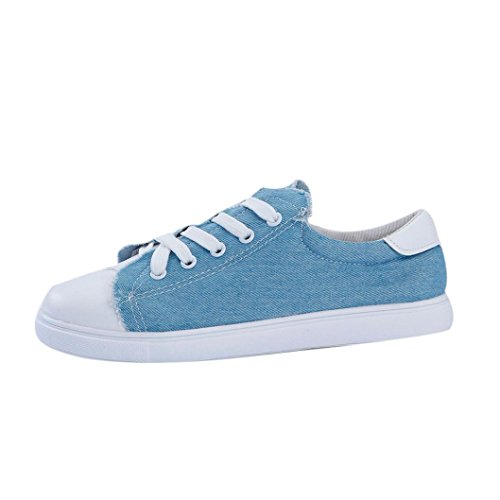 Clode® Flat Sneakers Womens Loafers Toe Shoes Blue School up Ladies Canvas Lace Round Trainers Work qUqWxA81r