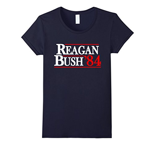 Women's Retro Reagan Bush 84 Poster Tee Shirt Medium Navy (Reagan Bush 84 Poster compare prices)