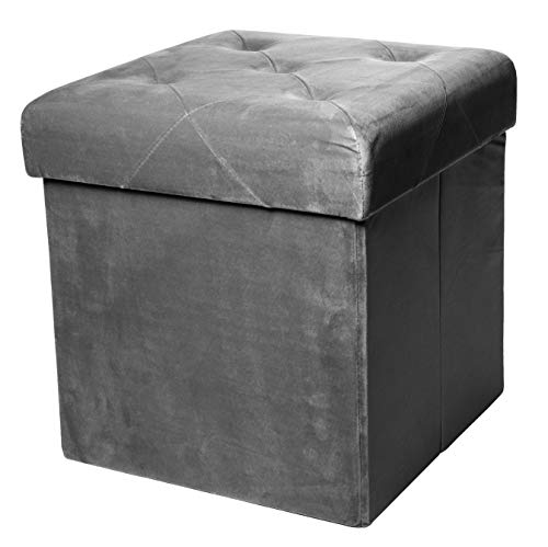 (Red Co. Square Luxury Storage Ottoman with Padded Seat, Upholstered Collapsible Folding Bench & Foot Rest, Velvet Charcoal, 15 Inches)
