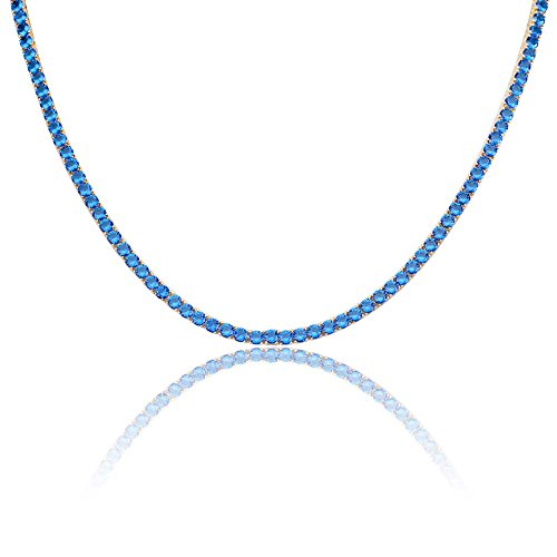 (JINAO 18K Gold Plated 1 Row 4MM Diamond Iced Out Chain Macro Pave CZ Hip Hop Tennis Necklace (Blue 22'' Chain) )
