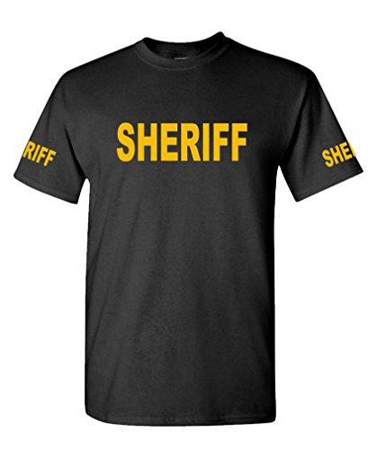 The Goozler v2 Sheriff - Law Enforcement Duty Police - Cotton T-Shirt, M, Black USA Made ()