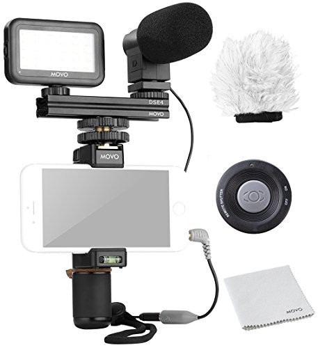 Movo Smartphone Video Kit V6 with Grip Rig, Mini Stereo Microphone, LED Light & Wireless Remote - for iPhone 5, 5C, 5S, 6, 6S, 7, 8, X (Regular and Plus), Samsung Galaxy, Note & More by Movo