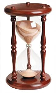 River City Clocks 60 Minute Wood Hourglass Timer with Cherry Finish, 9-Inches Tall, 960C