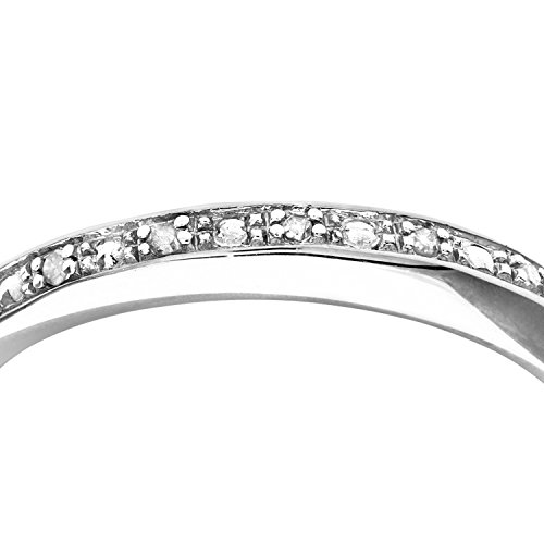 Bague Femme - Or Blanc 375/1000 (9 Cts) 1.2 Gr - Diamant 0.002 Cts