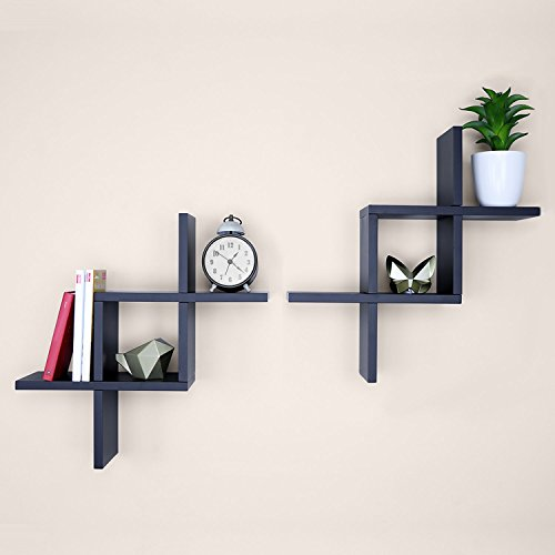 Wondrous Ballucci Criss Cross Floating Wall Shelf Set Of 2 Black Download Free Architecture Designs Scobabritishbridgeorg