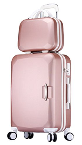 Songren Unisex Travel Luggage with Cosmetic Bag 2PCS Set ABS Suitcase Sets - 20 Inch Rose Gold by Songren