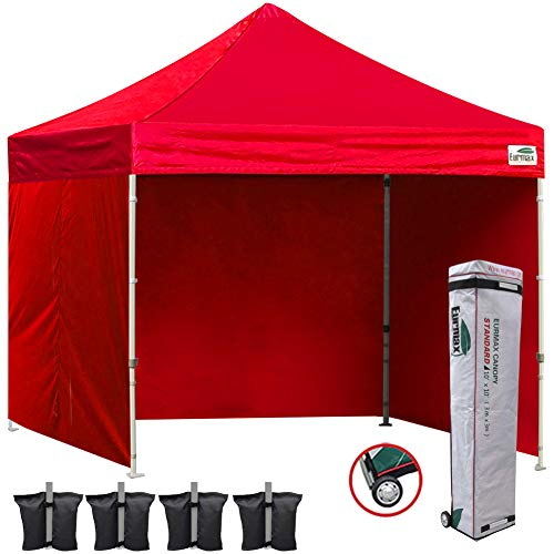 - Eurmax 10x10 Ez Pop Up Canopy Outdoor Canopy Instant Canopies with 4 Zipper Sidewalls and Roller Bag,Bouns 4 Weight Bags (Red)