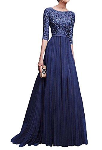 Minetom Mujer Vestidos De Noche Fiesta Elegante Largos Bodas Vestido De Gasa Atractivo 3/4 Mangas Maxi Dress Atractivo Azul