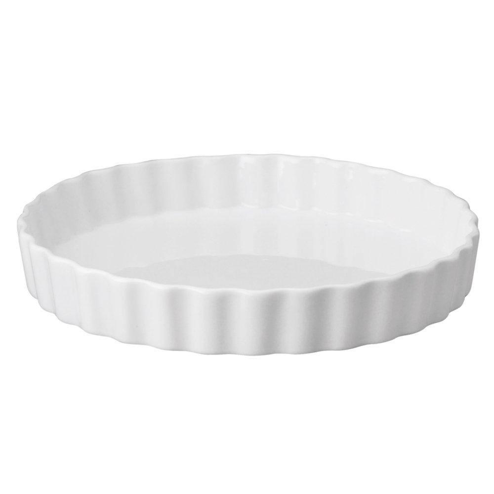 HIC Round Quiche, Fine White Porcelain, 10 x