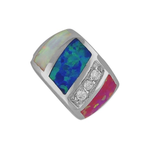Sterling Silver Synthetic Multi Color Opal Bead Barrel Charm/Pendant