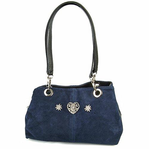Wildleder Trachten Handtasche mit Herz Marineblau - Zauberhafte Schultertasche zu Dirndl und Lederhose für Oktoberfest und Alltag