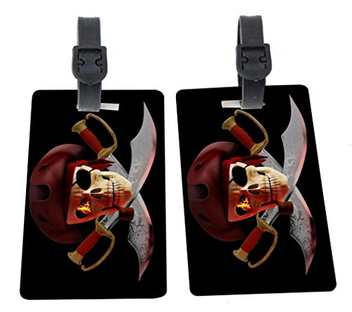 Pirate Luggage Tag (Rikki Knight Pirate Fire Skull on Swords Design Premium Quality Plastic Flexi Luggage Tags with Strap Closure - Great for Travel (set of 4))