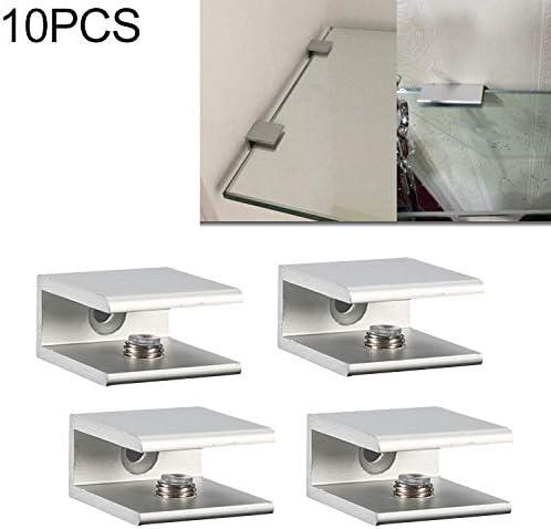Einstellbare Glas Clips Glasklemmen Glashalterung 10 PCS-einzelne Loch-Aluminiumlegierung Glasbefestigungsclip 12mm S
