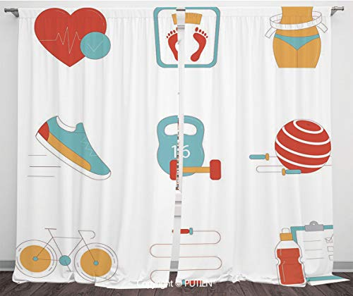 Satin Window Drapes Curtains [ Fitness,Slimming Losing Weight Themed Icons Tape Measure Jogging Bicycle Rope,Light Blue Red White ] Window Curtain Window Drapes for Living Room Bedroom Dorm Room Class