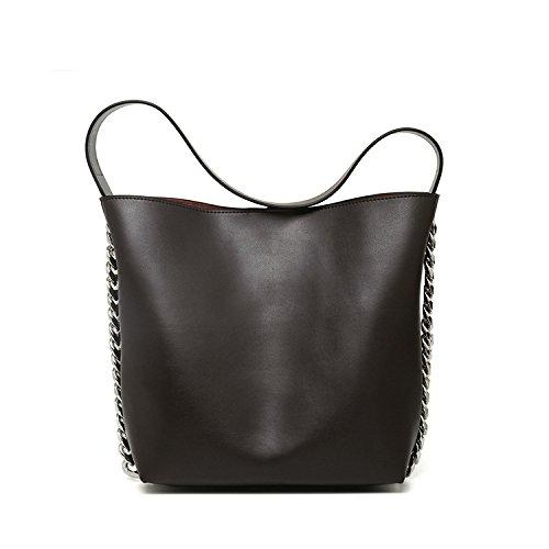 Bolsos de alta capacidad otoño e invierno nuevas señoras bolso bolsa niño paquete diagonal de gran capacidad, plata Coffee color