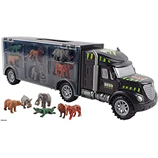 Memtes Wild Life Animal Car Carrier Transport Truck Toy for Kids (Includes 6 Animal's)