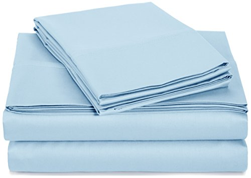 AmazonBasics 400 Thread Count Sheet Set, 100% Cotton, Sateen Finish - King, Smoke Blue