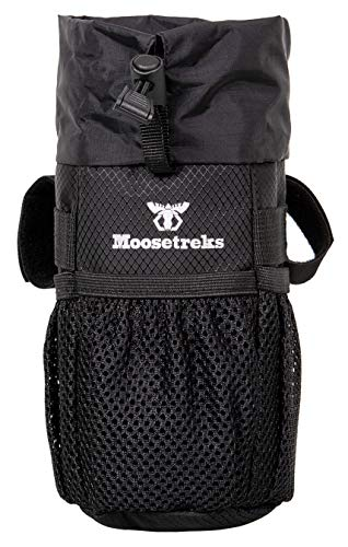 Moosetreks Bike Handlebar Stem Bag | Food Snack Storage, Water Bottle Holder | Bikepacking, Bicycle Touring, Commuting, Insulated Pouch