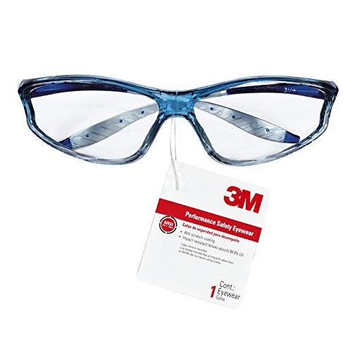 3M Performance Safety Eyewear, Blue Translucent Frame, Clear Lens